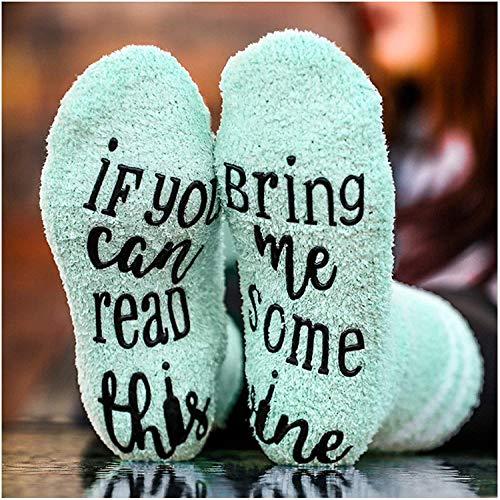 Lustige Socken für Frauen Mädchen, Wenn Sie Dies lesen können, bringen Sie Mir etwas Wein Bequeme Socken Geschenke für Liebhaber, Mutter, Frau oder Freund (Grün)