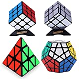 Dreampark Speed Cube Set - Includes 3x3 Speed Cube, Pyramid Speedcubing Puzzle, Megaminx Cube and Mirror Cube 4 Pack