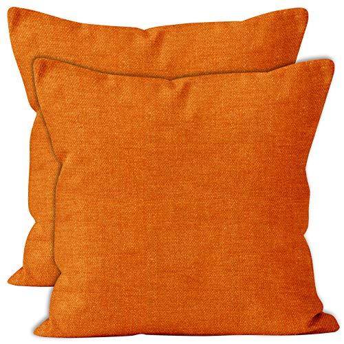 Encasa Homes Almohadas de Chenilla de Juego de 2 Piezas - Naranja - 60 x 60 cm Color sólido Texturizado, Suave y Liso, Acento Cuadrado Cojín para el sofá, el sofá, la Silla