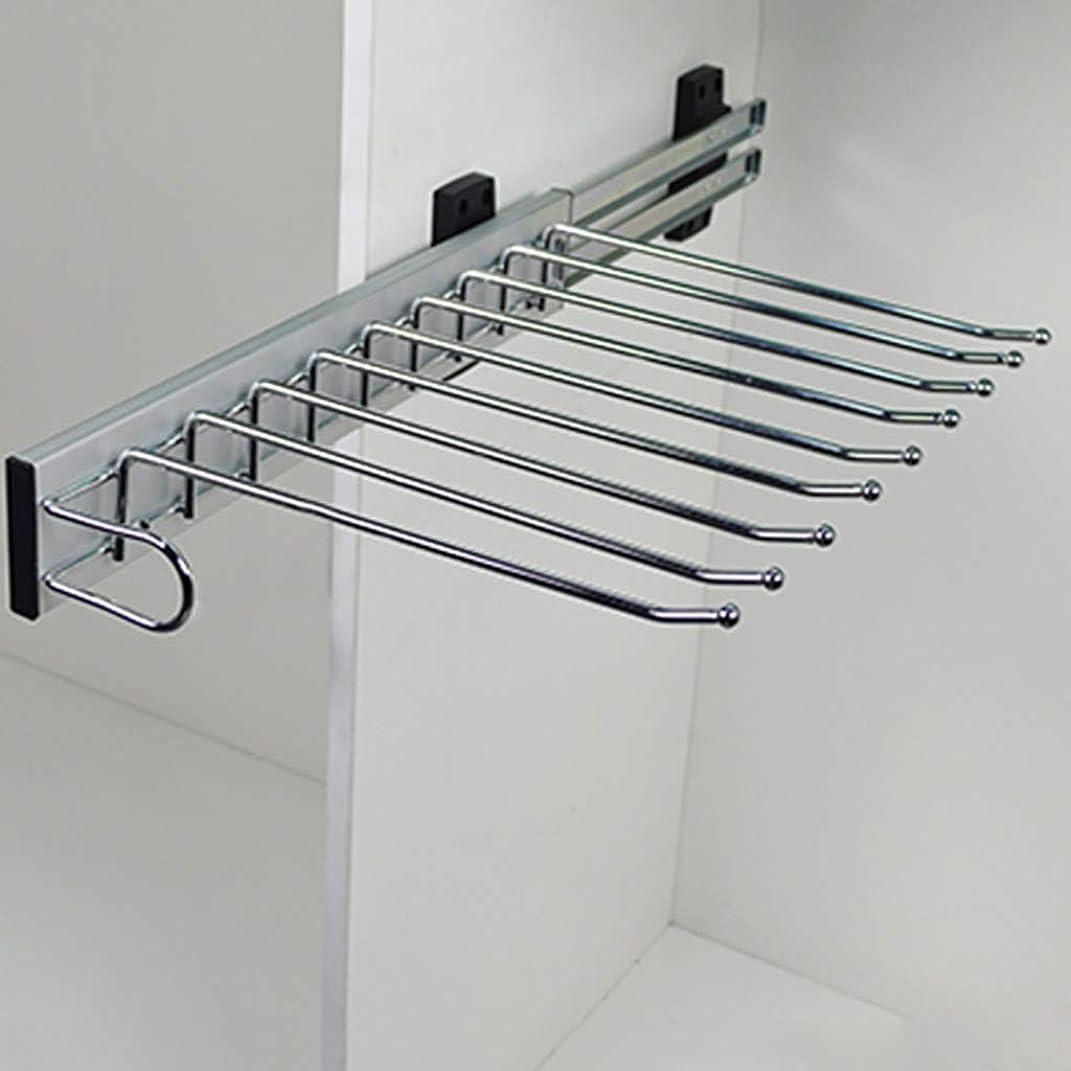 信頼意外パンツラック、引き出し可能なタイホルダーハンガーレール、9ペアの衣類用パンツハンガー(47cm)