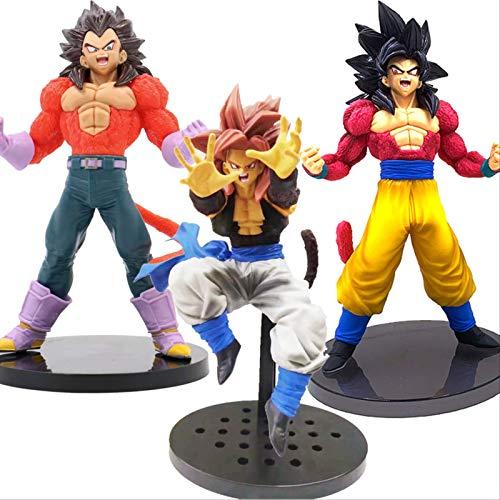 3 Piezas Dragon Ball GT Gogeta Vegeta Goku Super Saiyan 4 Kamehameha PVC Figura Modelo Muñeca Juguete 20Cm