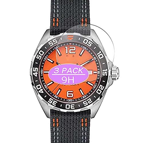 VacFun 3 Piezas Vidrio Templado Protector de Pantalla, compatible con TAG HEUER FORMULA 1 WAZ101A.FC8305 Case Size:43mm, 9H Cristal Screen Protector Protectora Reloj Inteligente NEW Version