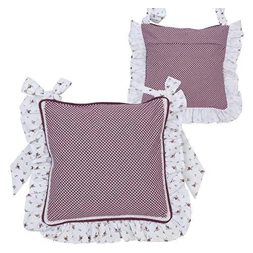 Clayre & Eef RPL25 - Federa per Cuscino da Sedia, Motivo: Rose, 100% Cotone, Stile Rustico, 40 x 40 cm