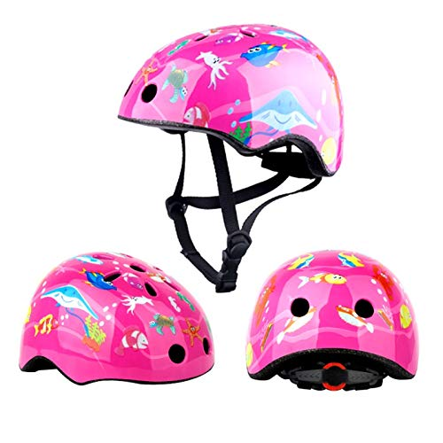 TITST Kinderhelm, niedliche Dinosaurierhelme, Jugend-Cartoon-Tierfisch-Skateboard-Fahrradhelm, Verstellbarer Helm für Alter 2-13 Jahre Jungen MädchenB