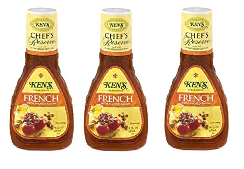 Ken's Chef's Reserve French Dressing with Smoked Bacon (Pack of 3) 9 oz Bottles