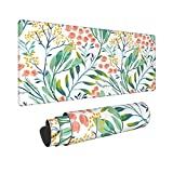 Watercolor Flower Floral Extended Mouse Pad 31.5x11.8 Inch XL Colorful Wildflowers Non-Slip Rubber Base Large Gaming Mousepad Stitched Edges Waterproof Keyboard Mouse Mat Desk Pad for Office Home