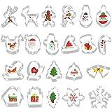 FHzytg 22 Stück Ausstechformen Weihnachten, Plätzchen Ausstecher, Fondant Ausstecher Set, Ausstechformen Set, Keksausstecher Weihnachten, Fondant Ausstechformen für Weihnachten Kekse...