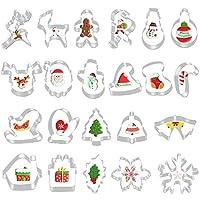 🍀【22 verschiedene Weihnachtsausstechformen Set】: Keksausstecher für große und kleine Zuckerbäcker. Verschiedene Keksausstechformen wie Weihnachtsbaum für Weihnachten, Hirsch, Lebkuchenmann, Schneemann oder Weihnachtsglocke usw. für Weihnachten. 🍀【Pre...