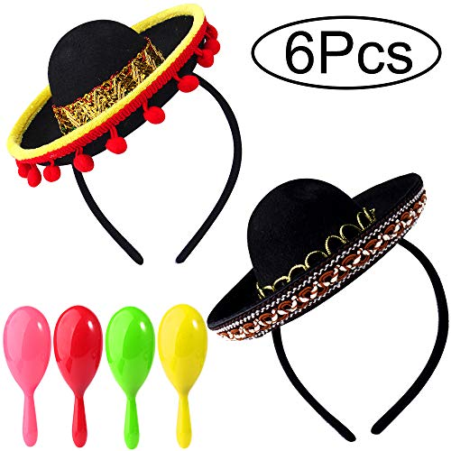 Great Deal! ONESING 6 Pcs Sombrero Party Hats Mexican Party Supplies Sombrero Headbands Mexican Somb...