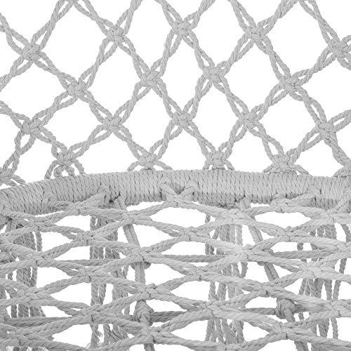 SPRINGOS Hängeschaukel mit Fransen, Hängesessel, geflochten, Baumwolle, Gartenschaukel, Schaukelstuhl zum Aufhängen, mit Seilen und Ringen, für Außen und Innen, Hängekorb (Grau) - 5