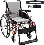 Karman S-Ergo 115 Ultra Lightweight Ergonomic Wheelchair Fixed Wheels, Swing Away Footrest in Rose Red Frame - Seat Size 18
