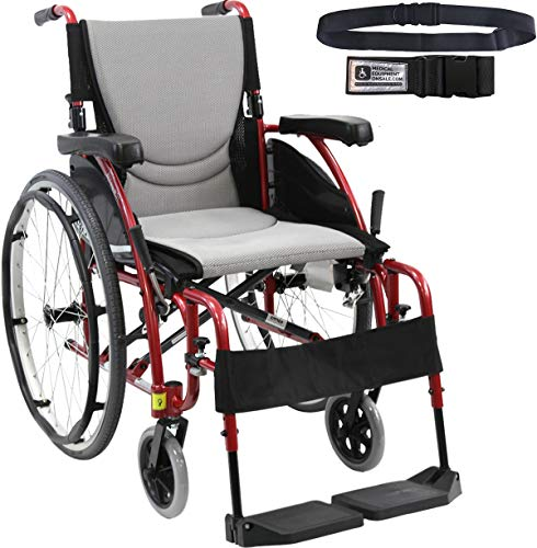 Karman S-Ergo 115 Ultra Lightweight Ergonomic Wheelchair Fixed Wheels, Swing Away Footrest in Rose Red Frame - Seat Size 18'W X 17'D & Get A Free Wheelchair Black Seatbelt