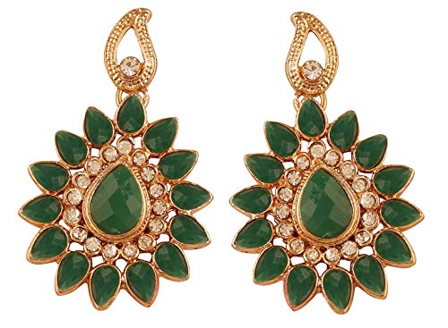 NEW! Touchstone Indian Bollywood Desire Traditional Indian Paisley Floral Motif Pear Shape Faux Emerald White Rhinestones Designer Jewelry Chandelier Earrings In Gold Tone For Women.