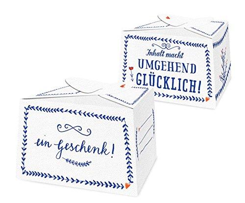 10 kleine Pralinenschachteln - ein Geschenk - Blau Weiß, für süße Kleinigkeiten im Adventskalender, Kuchenschachteln zum selbst Befüllen, für Gastgeschenke zur Hochzeit, Geburtstag, Konfirmation