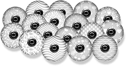 HOPOFLY Ceramic KNOB in Various Style (18 KNOB, Grey & White)