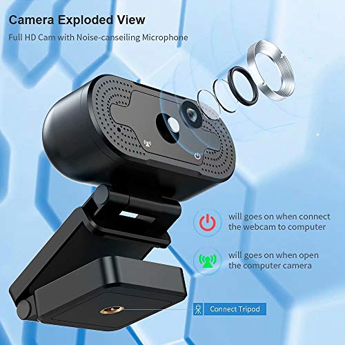 TROPRO Webcam for PC, Full HD 1080P Computer Camera with Cover, USB Web Cam with Microphone, Cover, Expandable Tripod, Streaming Camera for Skype, Zoom (Schwarz) (Mittelschwarz)