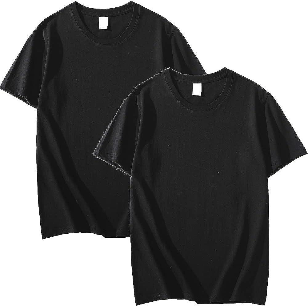 Arrebo Men's 100% Cotton Crewneck Short Sleeve T-Shirt 2-Pack Black
