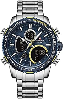 Naviforce Fan Sport Watch For Men Analog-Digital Stainless Steel - NF9182 Silver Blue
