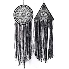 """【MATERIAL&SIZE】 2 pieces large size dream catcher is made of metal ring, black cotton lace and ribbon. The triangle size is 32 """"X10"""" and the circle is 32 """"X10"""". 【WORKMANSHIP】 this combination of dream catchers is handmade and carefully woven to ensur..."""