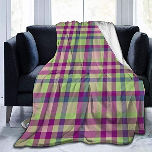 GOSMAO Tela Escocesa de tartán Ultra Suave de Microfibra Duradera Bns en Verde Musgo, Fucsia, Azul Malva, Mantas, sábana Suave y cálida para Ropa de Cama de 60 x 80 Pulgadas