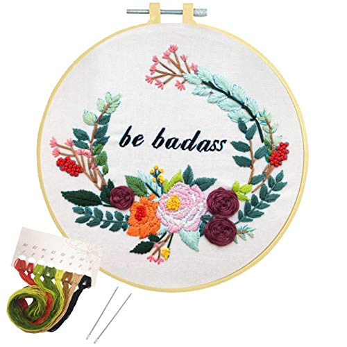 Embroidery Kit Cross Stitch Kit for Beginners Needlepoint, Nuberlic Adults Stamped Starter Kits with Pattern Hand Embroidery Hoops Floss Thread Needles