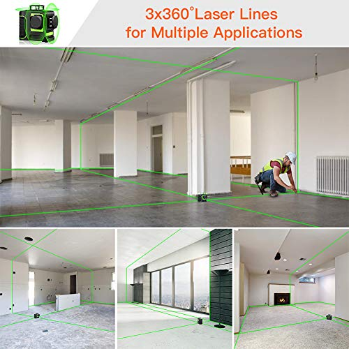 Seesii 3D Green Beam Self-Leveling Laser Level 3x360 Cross Line Laser Three-Plane Leveling and Alignment Line Laser Level -Two 360° Vertical and One 360° Horizontal Line