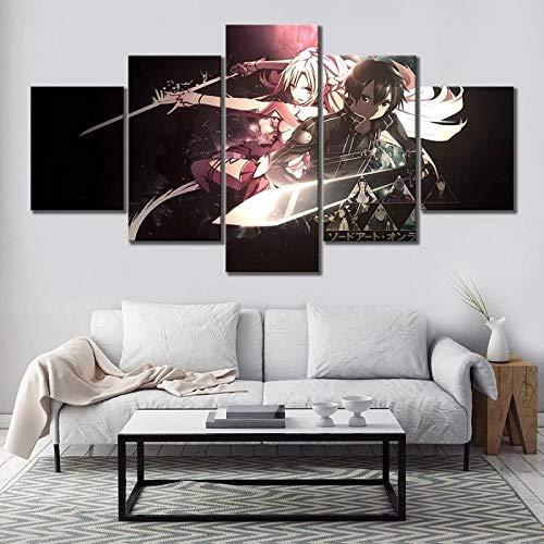XIAYF Sword Art Online 5 Piezas Cuadro en Lienzo Modernos Material no Tejido, Lienzo ArtíSticas Hd PóSter, Modernos Decoración Hogar Dormitorios Sala de Estar (150x80cm Marco)