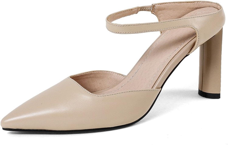 Nitsju Genuine läder Woherrar Point Toe High High High Stiletto Heel Handgjorda Ankle Strap Mulpumpar  till salu
