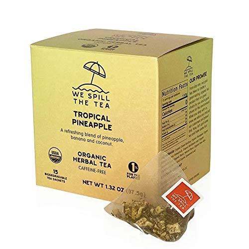 Organic Tropical Pineapple Tea (1 Box, 15 Tea Bags) - We Spill The Tea Organic Tea | Brew Hot or Iced | Pineapple Coconut Banana Tea | Caffeine-Free