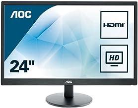 "AOC E2470SWHE 24"" Full HD 1920x1080 Monitor, TN, 5ms, HDMI (x2), VGA, VESA, EPEAT Silver"