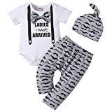 Baby Boy Clothes Stuff Infant Summer 3 Piece Outfits Newborn Cute Letter Printed Romper Short Sleeve + Pants + Hat Funny Letter Printed White Grey Mustache 70cm