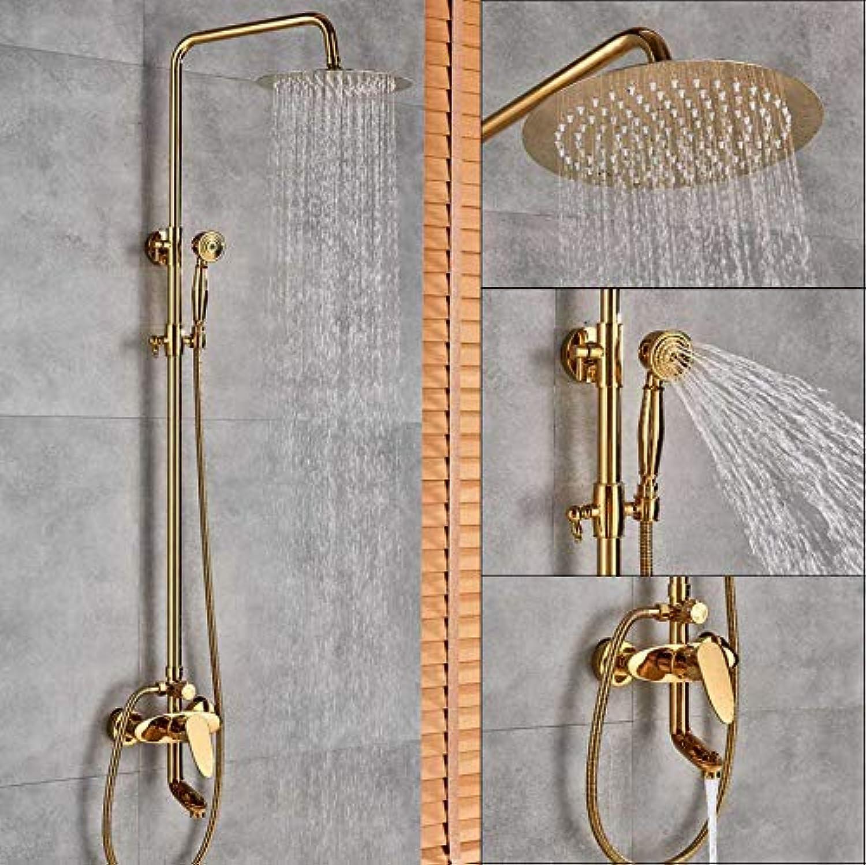 gold Shower Faucet Single Handle Shower Faucet Handshower Waterfall Bathroom Shower Spout System B