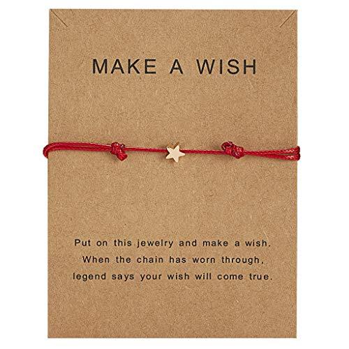 JIACUO Good Luck Wish Card Ster Bedel Verstelbare Wax Touw Armband Vriendschap Sieraden