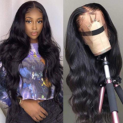 Dosacia Body Wave Lace Front Wigs Human Hair 13x4x1 T-Part Lace Frontal Wigs Brazilian Virgin Human Hair Wigs for Black Women Pre Plucked with Baby Hair 150% Density Natural Color(16inch)