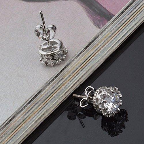Pendientes De BotóN De Oreja De Diamantes De Moda Simple Joyería De Mujer(Blanco)