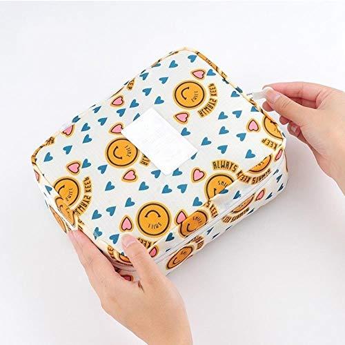 NIAN Mode-Reise-Nylonschönheits-Make-up sackt wasserdichte Kosmetiktaschenbadezimmerorganisator des tragbaren Badhakens der Frauen EIN, der Tasche, gelben Smiley abwäscht