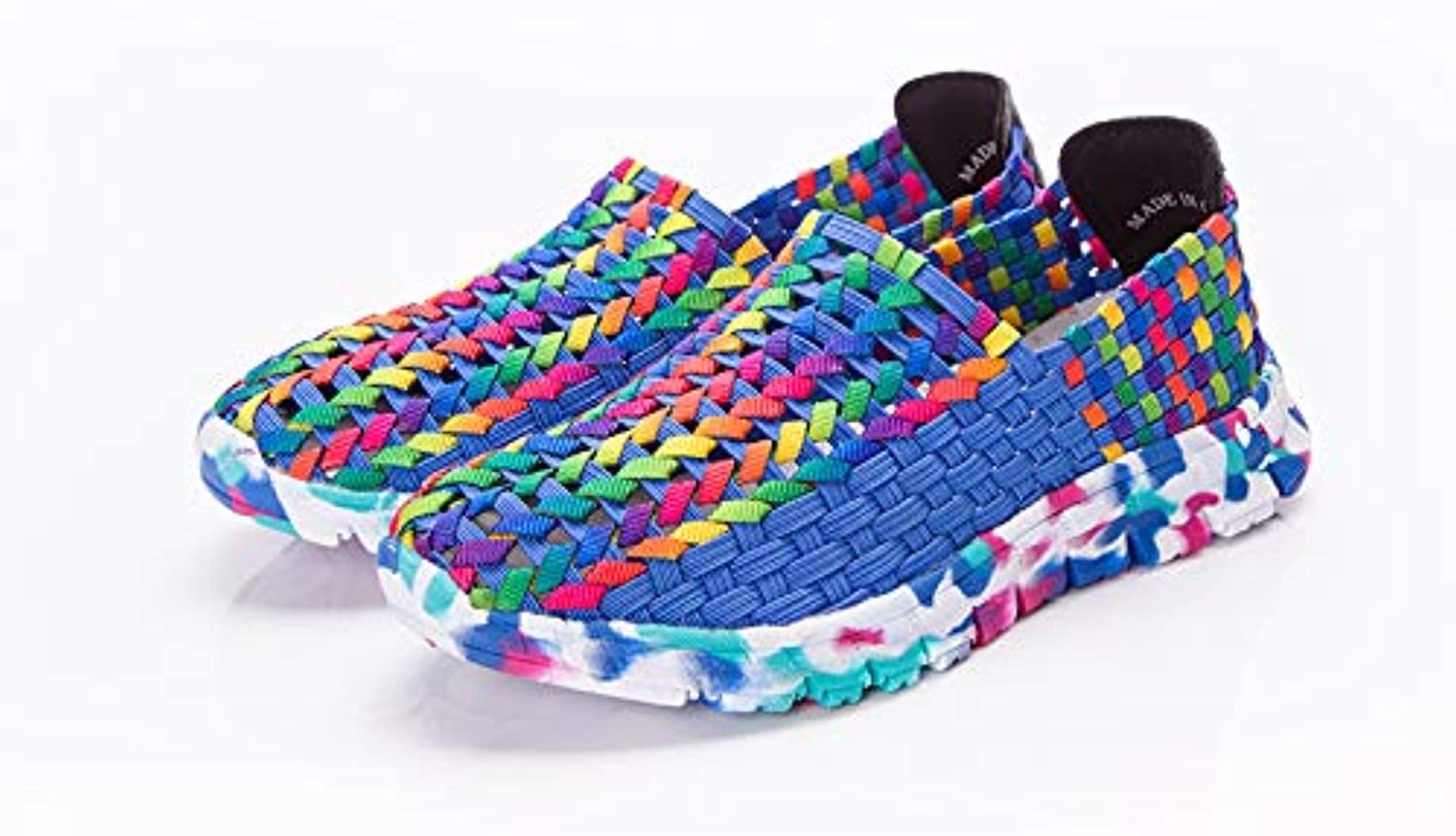 Otado Outdoors Clothing & shoes - Summer US Size 5-10 Women Hand Woven Breathable Net Hollows Casual Beach Flats Mixed colors shoes - (Size(US)  8, color  bluee)