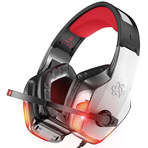 BENGOO® X-40 Auriculares para juegos para Xbox One, PS4, PC, controlador, cancelación de ruido para auriculares con micrófono, LED luz bajo envolvente suave auriculares de memoria para ordenador portátil Mac Nintendo Switch – rojo