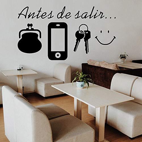 KDSMFA - Adhesivos decorativos para pared, diseño de carteras y llaves, diseño de sonrisa, decoración de comedor, casa, puerta, zapatero, armario, vinilo, 72 x 42 cm