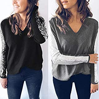 Festnight Lady Shirt,Fashion Women Blouse V Neck Sequined Long Sleeve Sparkling T-Shirt Tee Tops Black/Grey