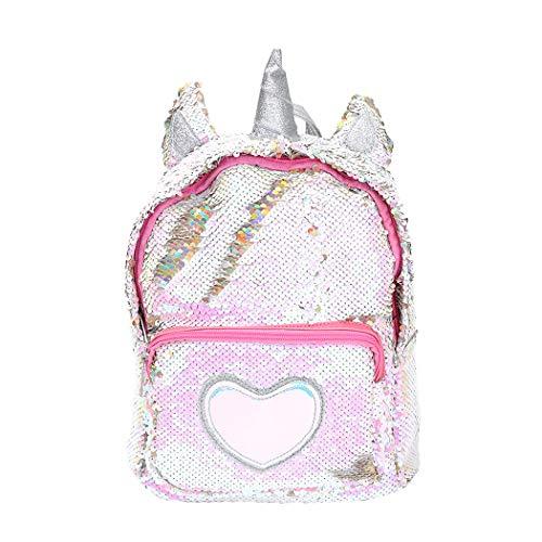 FORLADY Zampa di unicorno viaggio zaino moda paillettes ragazza/peluche simpatico cartone animato borsa