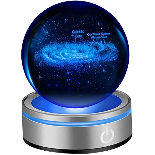 IFOLAINA 3D Galactic System Crystal Ball Figurine Lamps 80mm 3.15
