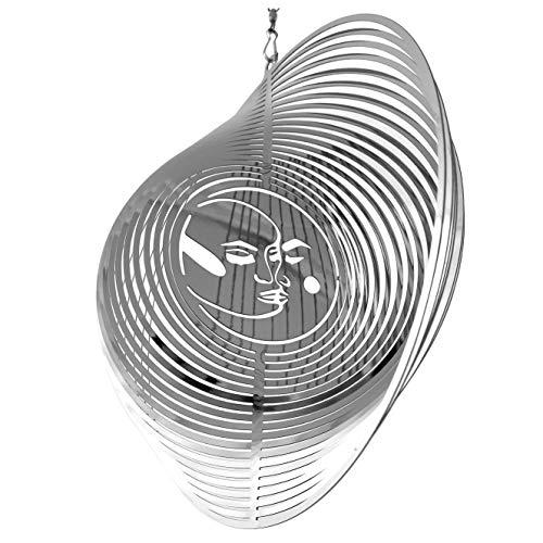 Beauty and the Wind Windspiel Metall Garten Spinner Outdoor Garten Kunst für Hinterhof Outdoor hängende Dekoration und Spinner für Hof und Garten Ornamente 3D-Form (Silber Sonne & Mond)