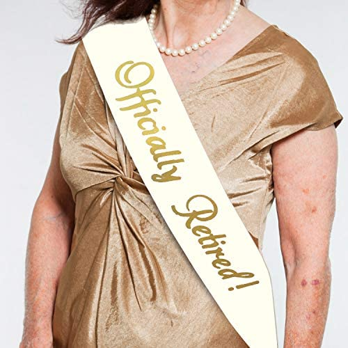 Officially Retired Sash Retirement Novelty Sash with Large Metal Pin for Men Women Great for product image