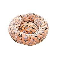 冬の暖かいペット猫の巣ソフトラウンド猫クッションマットハウス小中犬犬小屋睡眠ベッドロングぬいぐるみペット犬マットパッド-D-外径70cm