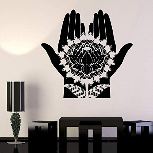 JXAA Mehndi Finger Henna Lotus Vinyl Wandtattoo Home Decoration Schlafzimmer Kunst Wandbild Wandaufkleber Geschenk 75x75cm