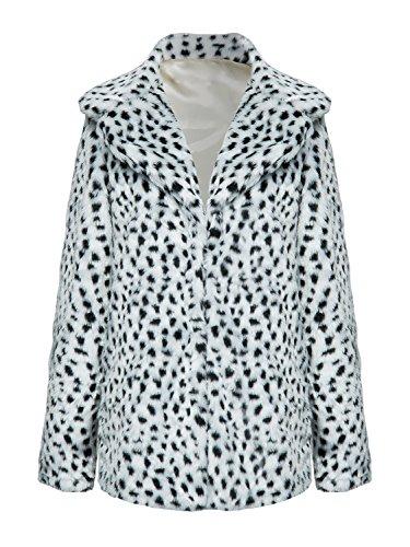 Choies Women's White Leopard Lapel Faux Fur Jacket Winter Polka Dot Fur Coat s