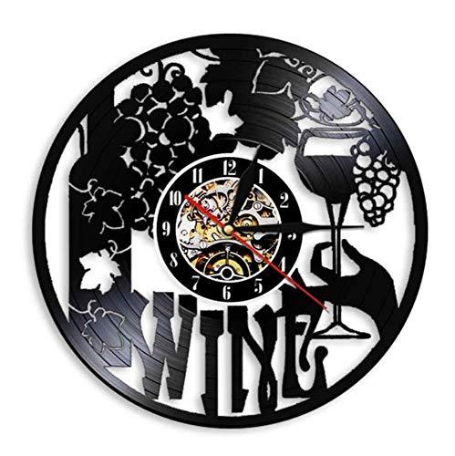 JJYM Orologio da Parete Vino Orologio da Parete Azienda vinicola Bottiglia Vetro UVA Vite Bere alcolici Liquore Pub Bar Etichetta Emblema Orologio da Parete in Vinile
