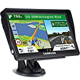 CARRVAS 7inchs GPS Navigation for Car and Truck 2021 Version Americas Map & Voice Reported Highway Speed Camera & Poi Lane Assist, Supported Post Code, Favorites & Address Search
