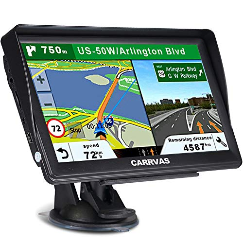 CARRVAS GPS Navigation for Car and Truck 7 Inch 2020 Version Americas Map & Voice Reported Highway Speed Camera & Poi Lane Assist, Supported Post Code, Favorites & Address Search
